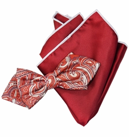 Red Paisley Silk Bow Tie with Rolled Bordered Pocket Square