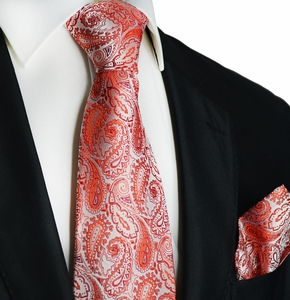Red Paisley Silk Tie and Pocket Square by Paul Malone