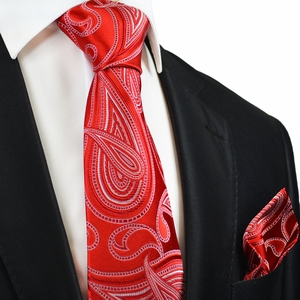 Red Paisley Silk Tie and Pocket Square by Paul Malone Red Line