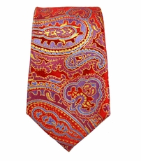Red Paisley Slim Silk Tie by Paul Malone
