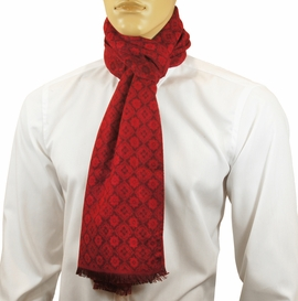 Red Patterned Men's Scarf by Paul Malone