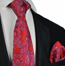 Red Patterned Paul Malone Men's Tie and matching Pocket Square