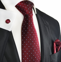Red Polka Dotted Silk Men's Tie Set by Paul Malone