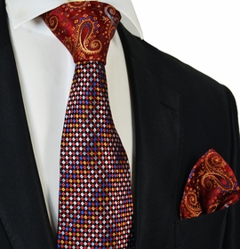 Red Steven Land Contrast Knot Silk Tie and Pocket Square