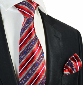 Red Striped Men's Tie and Pocket Square Set