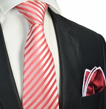 Red Striped Tie with Contrast Rolled Pocket Square Set