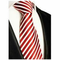 Red & White Striped Paul Malone Silk Neck Tie (852)