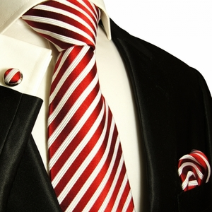 Red & White Striped Paul Malone Silk Tie Set (852CH)