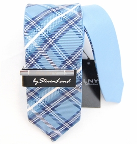 Reversible Skinny Tie by Steven Land, Blue Checks (SLSlim1)