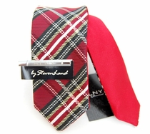 Reversible Steven Land Skinny Tie, Red, White and Black (SLSlim102)
