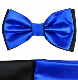 Royal Blue and Black Bow Tie with 2 Pocket Squares