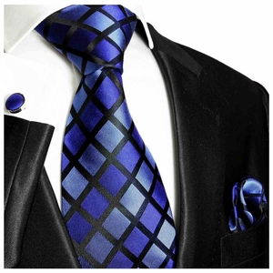 Royal Blue and Black Silk Tie Set by Paul Malone