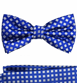 Royal Blue and Silver Bow Tie and Pocket Square by Paul Malone . 100% Silk (BT321H)