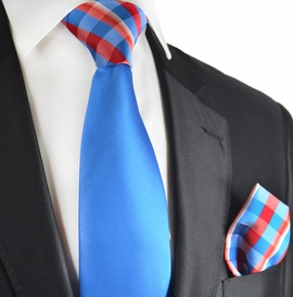 Royal Blue Contrast Knot Tie Set by Paul Malone