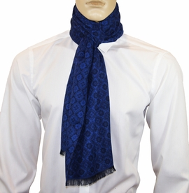 Royal Blue Patterned Men's Scarf by Paul Malone