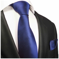Royal Blue Silk Tie Set by Paul Malone