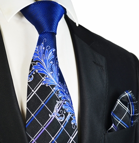 Royal Blue Steven Land Wedding Tie and Pocket Square with Crystals