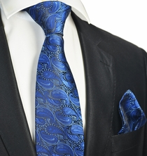 Royal Blue Tie and Pocket Square Set