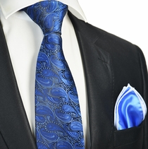 Royal Blue Tie with Contrast Rolled Pocket Square