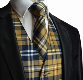 Sand and Navy Plaid Tuxedo Vest and Necktie Set