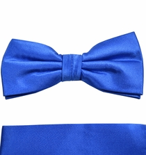 Satin Blue Bow Tie and Pocket Square by Paul Malone . 100% Silk (BT905H)