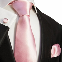Satin Lite Pink Silk Necktie Set by Paul Malone (922CH)