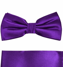 Satin Purple Bow Tie and Pocket Square Set by Paul Malone . 100% Silk (BT941H)