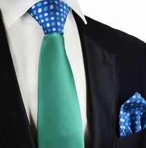 Sea Green Contrast Knot Tie Set by Paul Malone