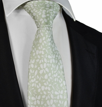 Seafoam Green and White Floral Tie by Paul Malone