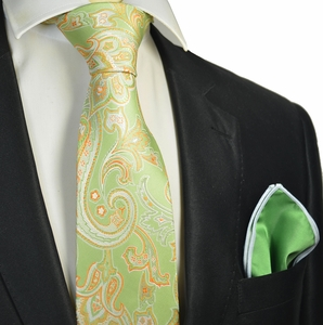 Shadow Green and Orange Tie with Contrast Rolled Pocket Square Set