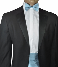 Silk Cummerbund and Bow Tie Set . Lite Blue