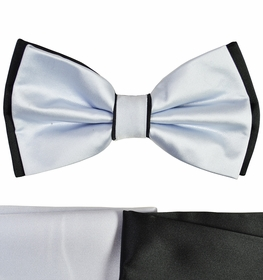 Silver and Black Bow Tie with 2 Pocket Squares