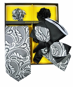 Silver and Black Paisley Tie Set Gift Box