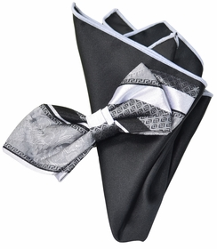 Silver and Black Silk Bow Tie with Rolled Trim Pocket Square