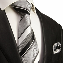 Silver and Black Silk Tie Set . Paul Malone
