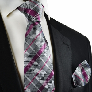 Silver and Purple Plaids Silk Tie Set by Paul Malone