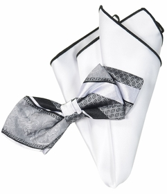 Silver and White Silk Bow Tie with Rolled Trim Pocket Square