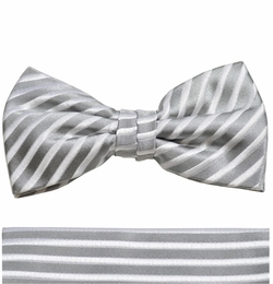 Silver Bow Tie and Pocket Square Set by Paul Malone . 100% Silk (BT927H)