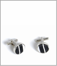 Silver Cufflinks with Black and White Silk Lining (C302)