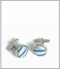 Silver Cufflinks with Blue Silk Lining (C429)