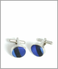 Silver Cufflinks with Blue Silk Lining (C480)