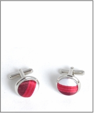 Silver Cufflinks with Burgundy and White Silk Lining (C121)