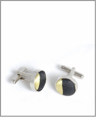 Silver Cufflinks with Gold and Black Silk Lining (C335)