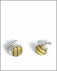 Silver Cufflinks with Gold and Brown Silk Lining (C398)