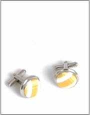 Silver Cufflinks with Gold and White Silk Lining (C264)