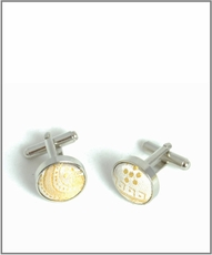 Silver Cufflinks with Gold Patterned Silk Lining (C427)