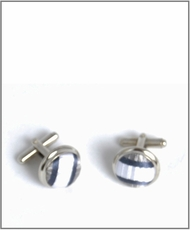 Silver Cufflinks with Gray and White Silk Lining (C267)