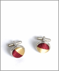 Silver Cufflinks with Maroon and Gold Silk Lining (C245)