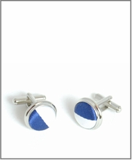 Silver Cufflinks with Navy and White Silk Lining (C405)