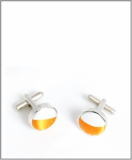 Silver Cufflinks with Orange and White Lining (C330)